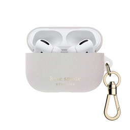 [KSAP-002-WHTGL] kate spade Flexible Case for Airpod Pros - White Iridescent Glitter
